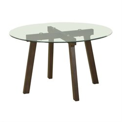 Diamond Sofa Round Glass Dining Table in Espresso