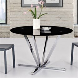 Diamond Sofa Metro Round Glass Dining Table in Black