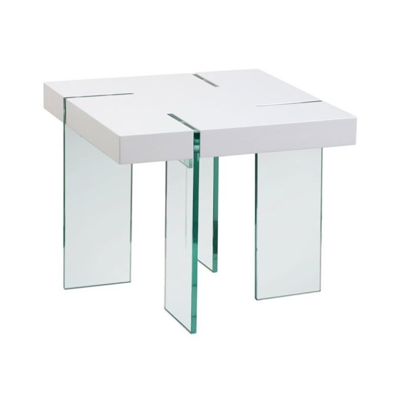 Diamond Sofa Square End Table With Glass Legs In White