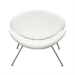 Diamond Sofa Roxy Faux Leather Accent Chair with Chrome Frame in White
