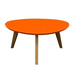Diamond Sofa Mid-Century Retro Trio Coffee Table in Orange and Oak