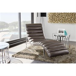 Diamond Sofa Bardot Chaise Lounge with Stainless Steel Frame in Gray