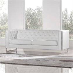 Diamond Sofa Chelsea Faux Leather Sofa with Metal Legs in White