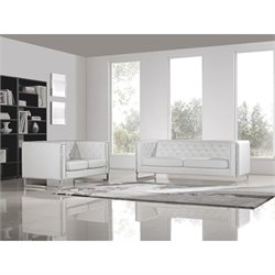Diamond Sofa Chelsea Leather 2 Piece Sofa and Loveseat Set in White