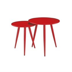 Diamond Sofa Duo 2 Piece Nesting Tables in Red