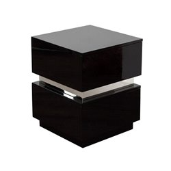 Diamond Sofa Elle 2 Drawer Accent Table in Black