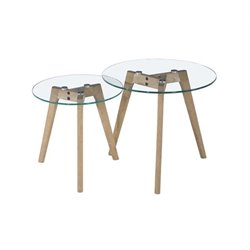 Diamond Sofa Monarch Glass Round 2 Piece Nesting Tables in Oak