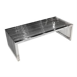 Diamond Sofa Soho Glass Rectangular Coffee Table in Stainless Steel