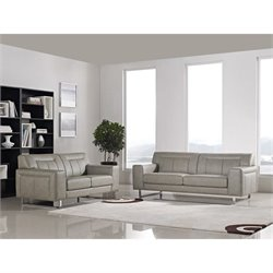 Diamond Sofa Vera Faux Leather 2 Piece Sofa and Loveseat Set in Sandstone
