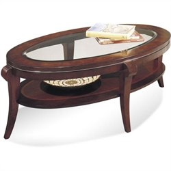 Bassett Mirror Ashland Heights Oval Inset Glass Cocktail Table in Cherry