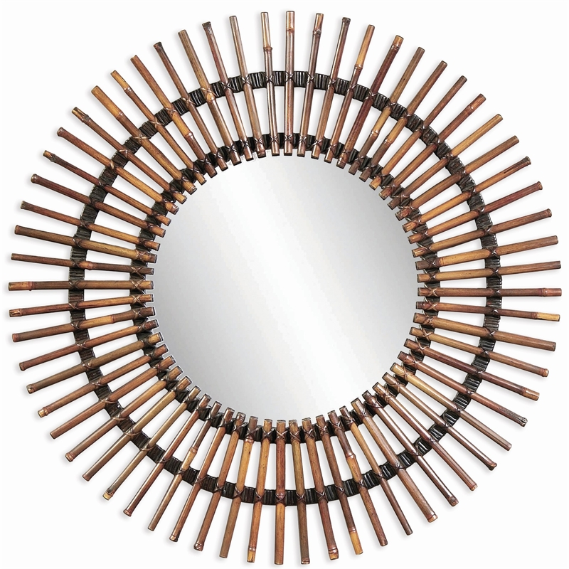 Bassett Mirror Taipan Bamboo Sunburst Wall Mirror in Natural