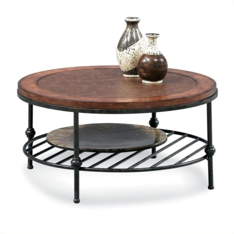 Bassett Mirror Bentley Round Glass Top Cocktail Table in Tobacco