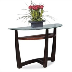 Bassett Mirror Elation Half Moon Glass Top Console Table in Cappucino