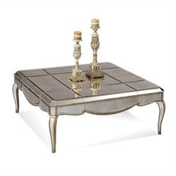 Bassett Mirror Collette Mirror Panel Square Cocktail Table in Gold