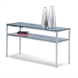 Bassett Mirror Patinoire Entertainment Console Table in Chrome Plate