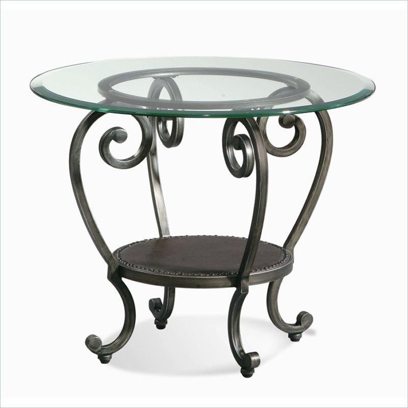 Dauphine Round End Table in Gunmetal