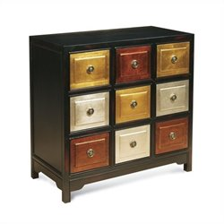 Bassett Mirror Tic-Tac-Toe Chest in Black and Red Rub