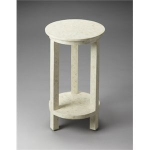 Butler Specialty Bone Inlay Round End Table in White Bone Inlay