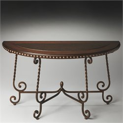 Butler Specialty Metalworks Nottingham Demilune Console Table in Metal