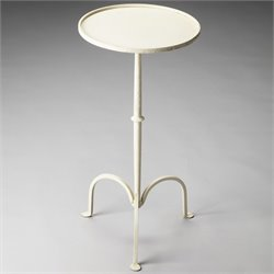Butler Specialty Industrial Chic Founders Pedestal Table in White Iron
