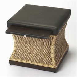 Butler Specialty Cosmopolitan Mathilda Ottoman in Raffia and Leather