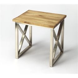 Butler Specialty Industrial Chic End Table in Wood and Silver