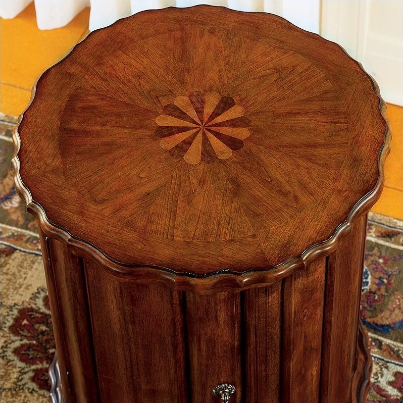 Butler Specialty Plantation Cherry Round Wood Drum End Table
