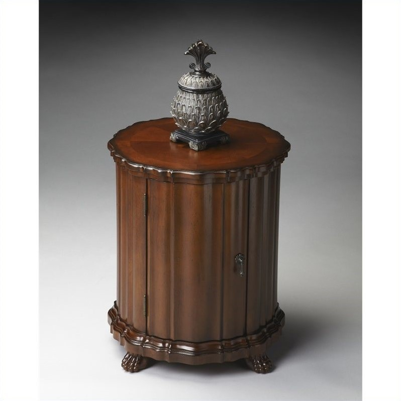 butler specialty plantation cherry round wood drum end table ebay. Black Bedroom Furniture Sets. Home Design Ideas