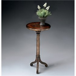 Butler Specialty Pedestal Table in Brown and Gold Finish