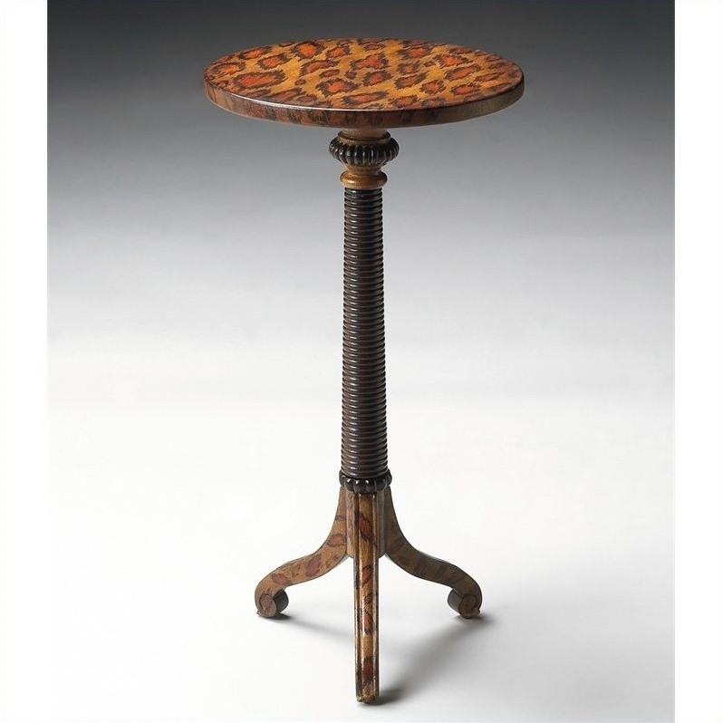 Pedestal Table in Leopard Spots Finish