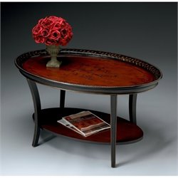 Butler Specialty Oval Cocktail Table in Traditional Red and Black Finish