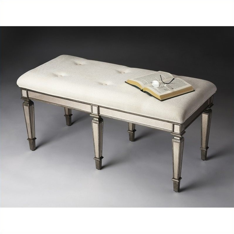 Butler Specialty Mirrored Tufted Bench in Ivory and Pewter