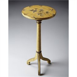 Butler Specialty Pedestal Table in Yellow Floral Finish