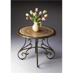 Butler Specialty Metalworks Foyer Table in Dark Pewter and Gold Finish