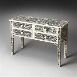 Butler Specialty Vivienne Black Bone Inlay Console Table