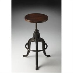 Butler Specialty Industrial Chic Bar Stool with Dark Brown Wood Seat