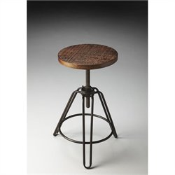 Butler Specialty Industrial Chic Bar Stool with Distressed Wood Seat