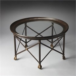 Butler Specialty Richton Metalworks Cocktail Table in Glass and Metal