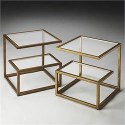 Butler Specialty Mallory Bunching Tables in Glass and Metal