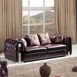 ESF Style Full Leather Sofa in Brown