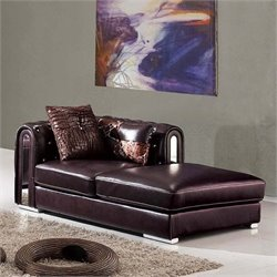 ESF Style Full Leather Chaise Lounge in Brown
