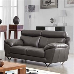 ESF Style Half Leather Loveseat in Gray