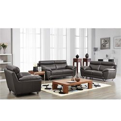ESF 3 Piece Style Half Leather Sofa Set in Gray