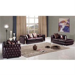 ESF 3 Piece Style Half Leather Sofa Set in Brown