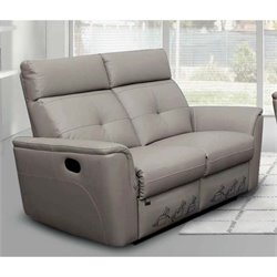 ESF Leather Reclining Loveseat in Gray
