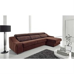 ESF Ronaldo Fabric Sectional Sleeper Sofa in Brown