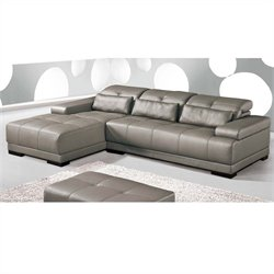 ESF Style Full Leather Sectional with Left Facing Chaise in Grey