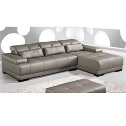 ESF Style Full Leather Sectional with Right Facing Chaise in Grey