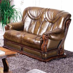 ESF Style Leather Oakman Loveseat in Brown