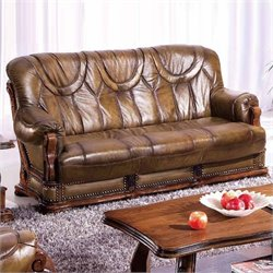 ESF Style Leather Oakman Sofa in Brown